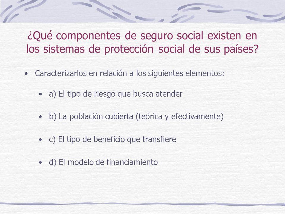 ¿Qué componentes de seguro social existen en los sistemas de protección social de sus países.