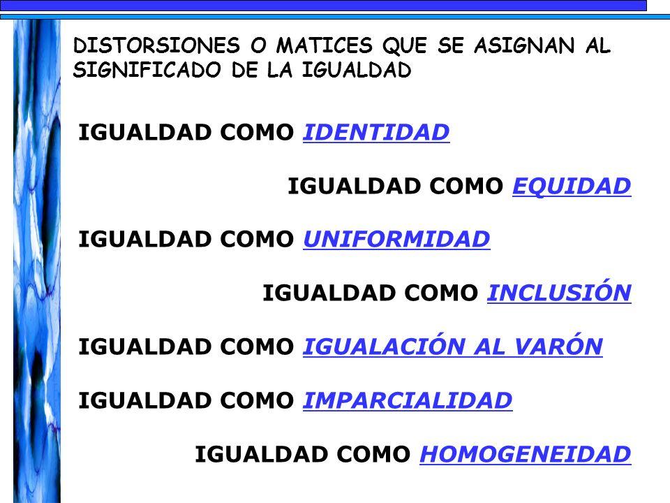 DISTORSIONES O MATICES QUE SE ASIGNAN AL SIGNIFICADO DE LA IGUALDAD IGUALDAD COMO IDENTIDAD IGUALDAD COMO EQUIDAD IGUALDAD COMO UNIFORMIDAD IGUALDAD C