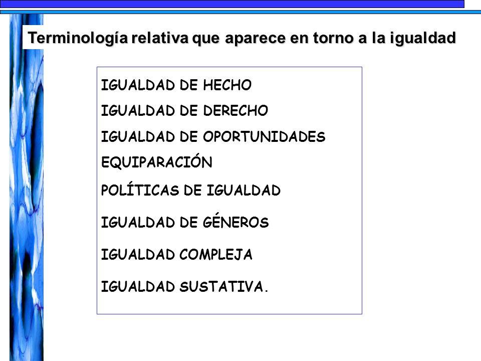 IGUALDAD DE HECHO IGUALDAD DE DERECHO IGUALDAD DE OPORTUNIDADES EQUIPARACIÓN POLÍTICAS DE IGUALDAD IGUALDAD DE GÉNEROS IGUALDAD COMPLEJA IGUALDAD SUST
