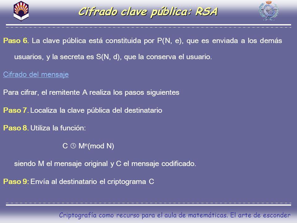 Criptografía como recurso para el aula de matemáticas. El arte de esconder Cifrado clave pública: RSA Paso 6. La clave pública está constituida por P(