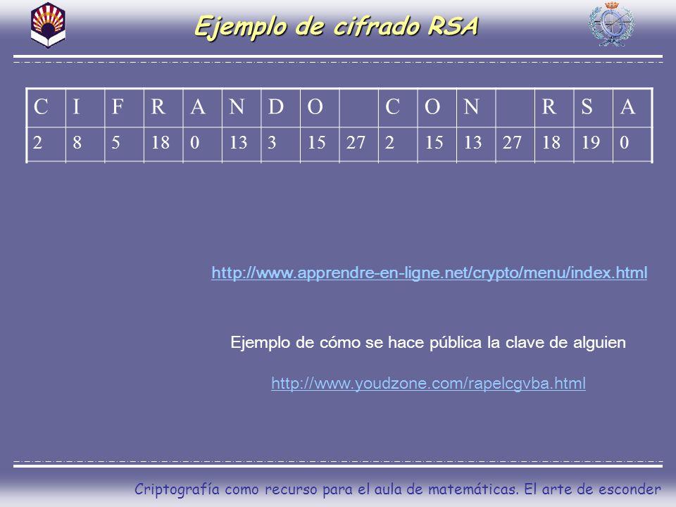 Criptografía como recurso para el aula de matemáticas. El arte de esconder Ejemplo de cifrado RSA CIFRANDOCONRSA 2851801331527215132718190 82111802179