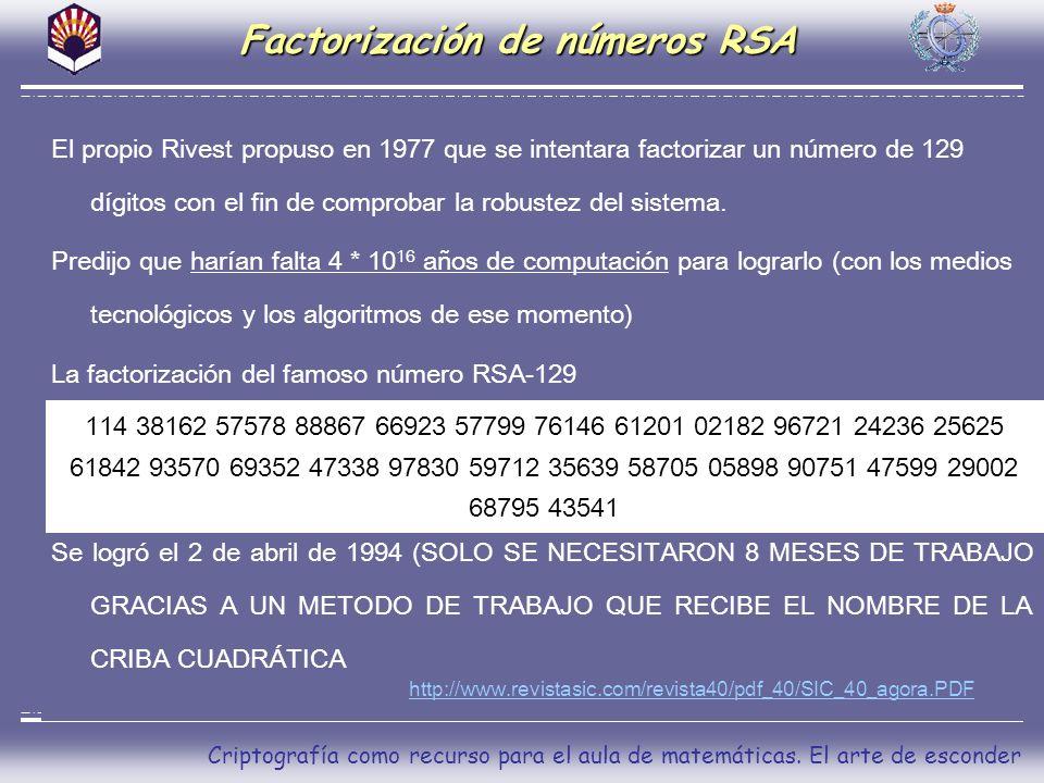 Criptografía como recurso para el aula de matemáticas. El arte de esconder Factorización de números RSA El propio Rivest propuso en 1977 que se intent