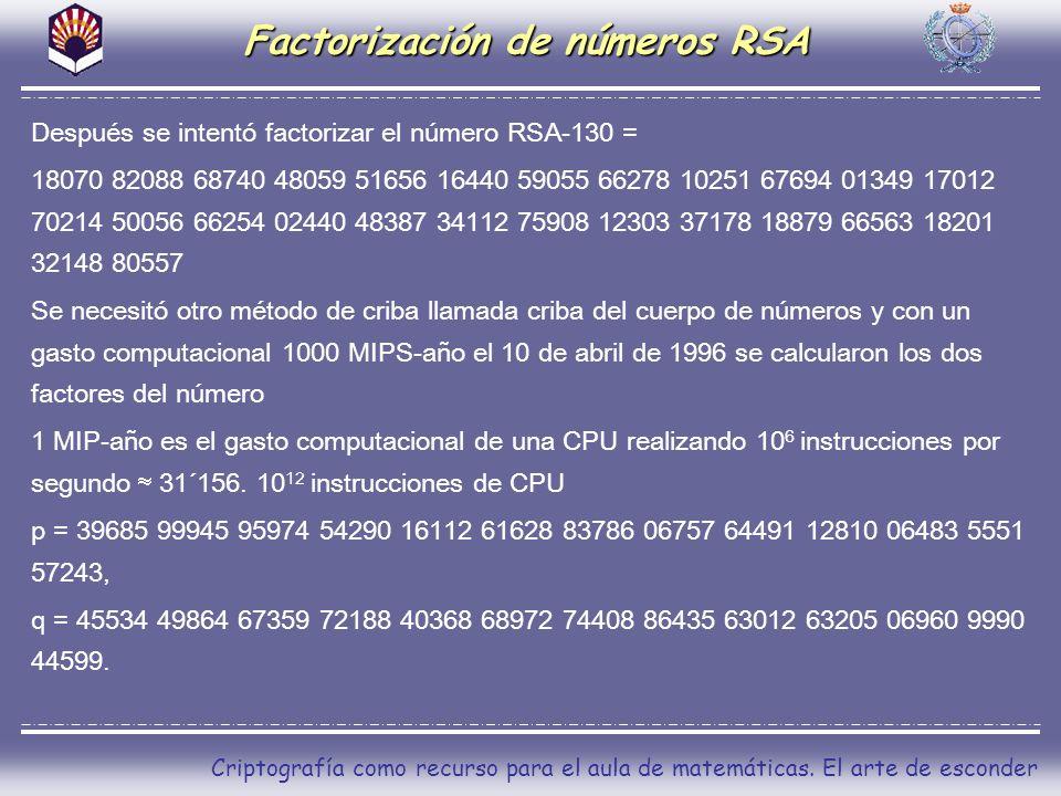 Criptografía como recurso para el aula de matemáticas. El arte de esconder Después se intentó factorizar el número RSA-130 = 18070 82088 68740 48059 5
