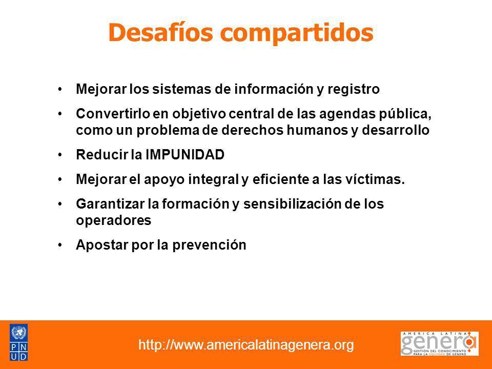 Desafíos compartidos Mejorar los sistemas de información y registro Convertirlo en objetivo central de las agendas pública, como un problema de derech