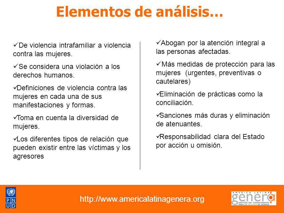 Elementos de análisis… http://www.americalatinagenera.org De violencia intrafamiliar a violencia contra las mujeres. Se considera una violación a los