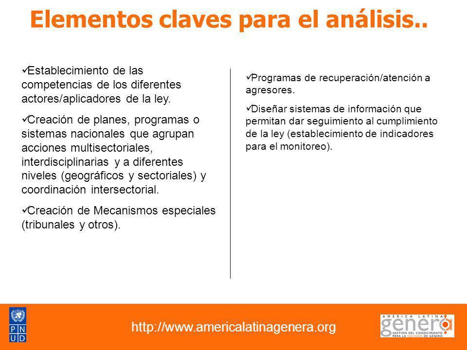 Elementos claves para el análisis.. http://www.americalatinagenera.org Establecimiento de las competencias de los diferentes actores/aplicadores de la