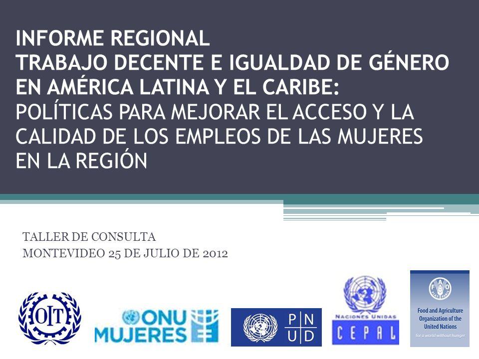 Antecedentes La situación de trabajo y las condiciones de vida de las mujeres son variables clave para el desarrollo equitativo y sostenible de América Latina y el Caribe.