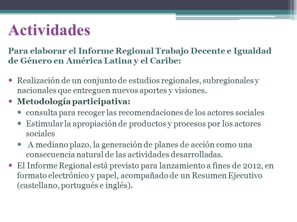 Actividades Realización de un conjunto de estudios regionales, subregionales y nacionales que entreguen nuevos aportes y visiones. Metodología partici