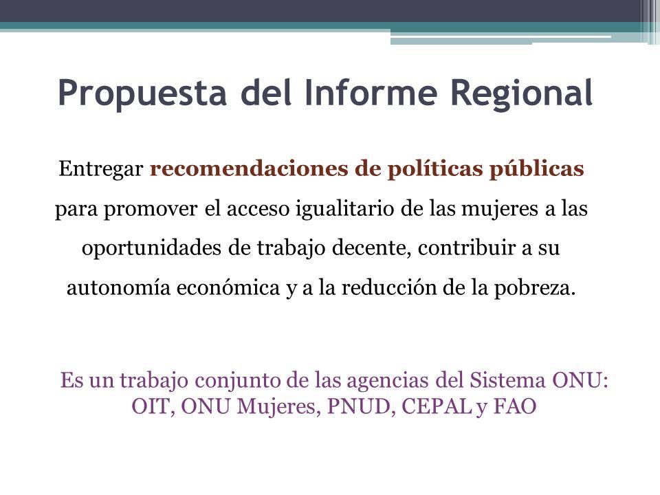 Propuesta del Informe Regional Entregar recomendaciones de políticas públicas para promover el acceso igualitario de las mujeres a las oportunidades d