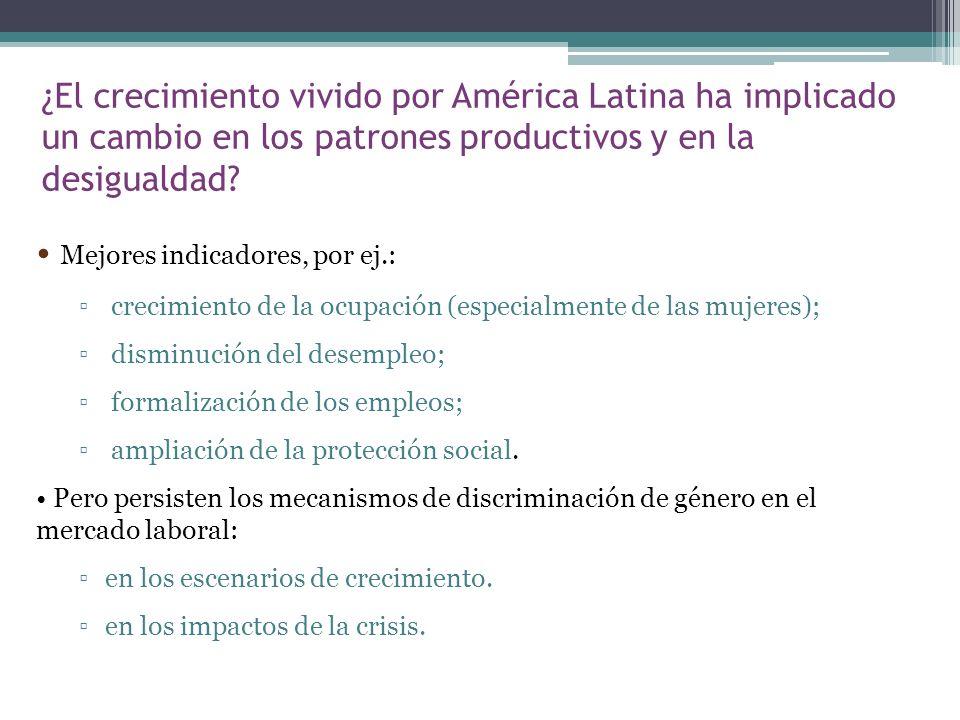 Mejores indicadores, por ej.: crecimiento de la ocupación (especialmente de las mujeres); disminución del desempleo; formalización de los empleos; amp