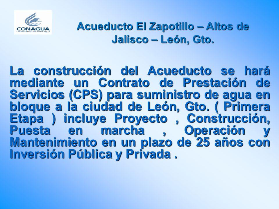 La construcción del Acueducto se hará mediante un Contrato de Prestación de Servicios (CPS) para suministro de agua en bloque a la ciudad de León, Gto