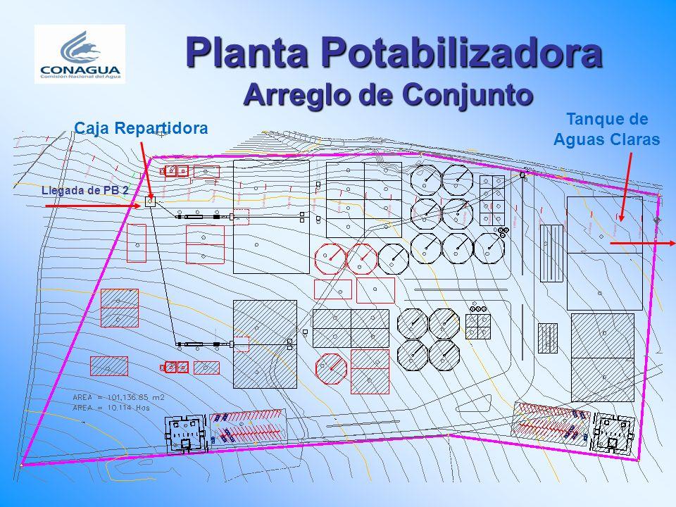 Planta Potabilizadora Arreglo de Conjunto Tanque de Aguas Claras Caja Repartidora Llegada de PB 2