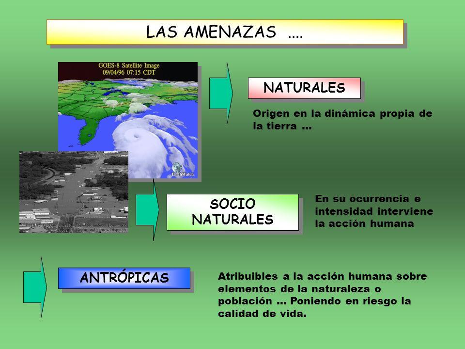 LAS AMENAZAS.... NATURALES SOCIO NATURALES Origen en la dinámica propia de la tierra... En su ocurrencia e intensidad interviene la acción humana ANTR