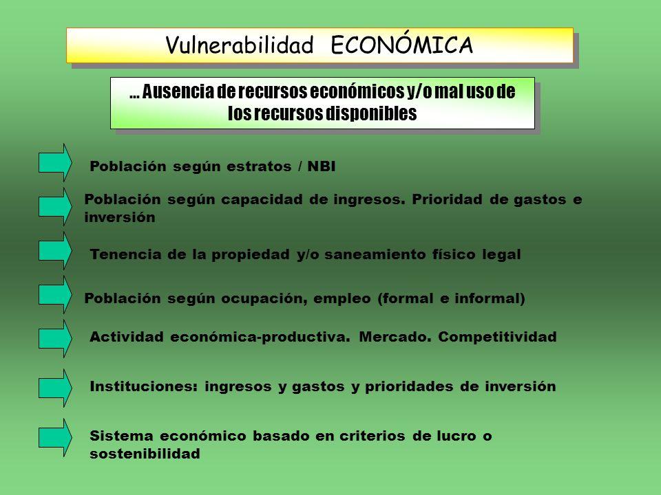 Vulnerabilidad ECONÓMICA... Ausencia de recursos económicos y/o mal uso de los recursos disponibles Población según estratos / NBI Tenencia de la prop