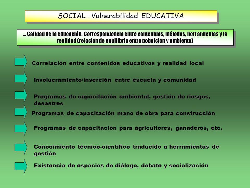 SOCIAL : Vulnerabilidad EDUCATIVA... Calidad de la educación. Correspondencia entre contenidos, métodos, herramientas y la realidad (relación de equil