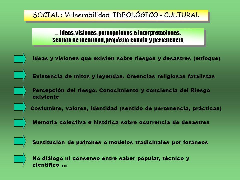 SOCIAL : Vulnerabilidad IDEOLÓGICO - CULTURAL... Ideas, visiones, percepciones e interpretaciones. Sentido de identidad, propósito común y pertenencia