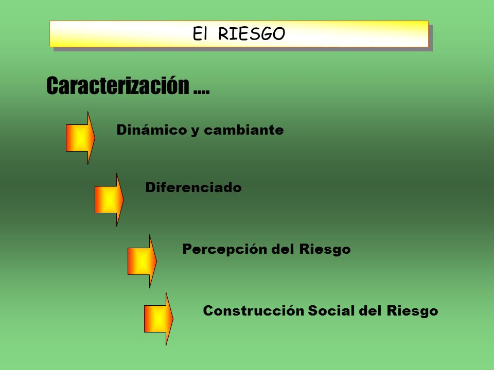 El RIESGO Caracterización.... Dinámico y cambiante Diferenciado Construcción Social del Riesgo Percepción del Riesgo