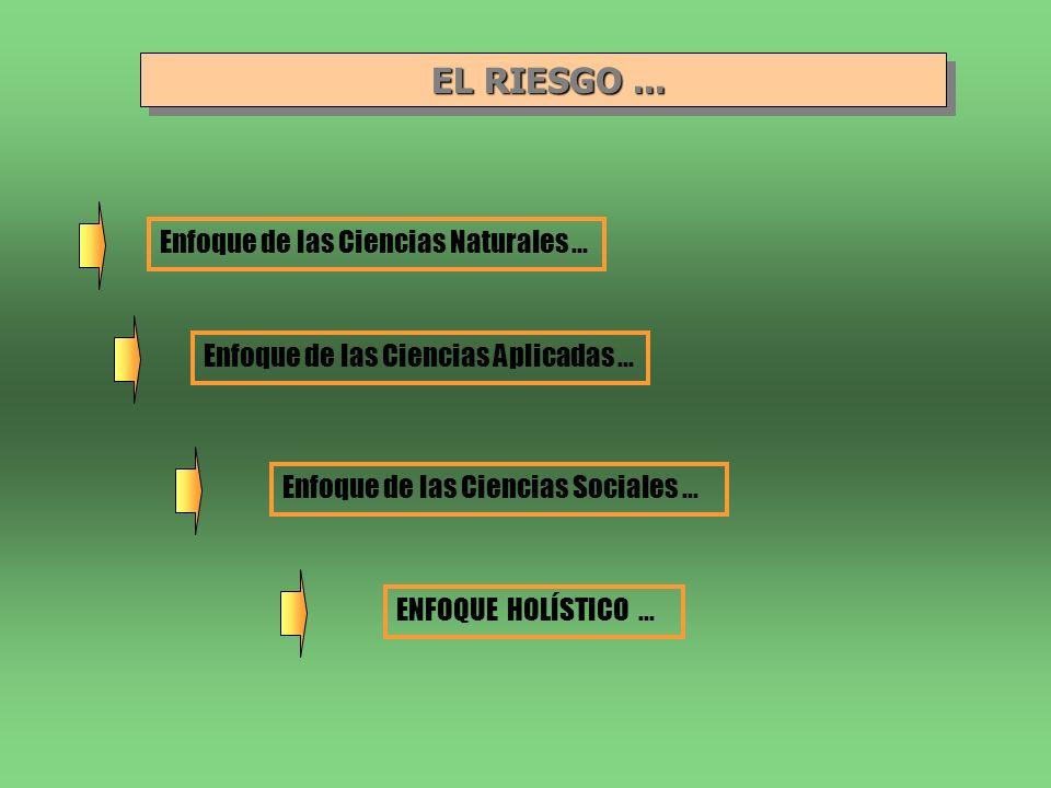 EL RIESGO... EL RIESGO... Enfoque de las Ciencias Naturales... Enfoque de las Ciencias Aplicadas... Enfoque de las Ciencias Sociales... ENFOQUE HOLÍST