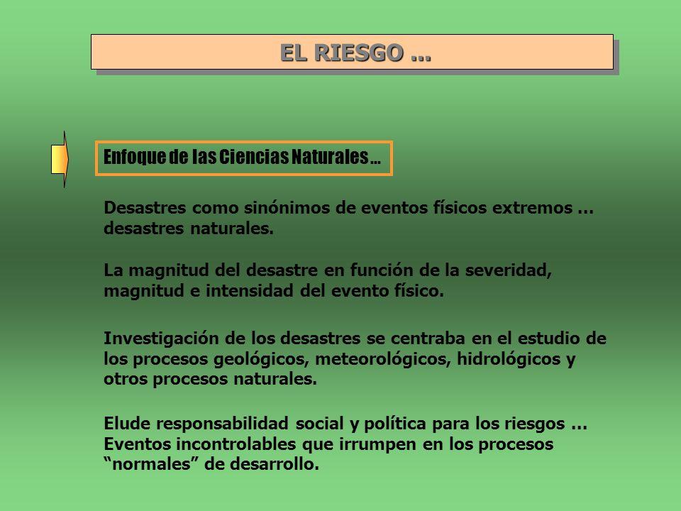 EL RIESGO... EL RIESGO... Enfoque de las Ciencias Naturales... Desastres como sinónimos de eventos físicos extremos... desastres naturales. La magnitu