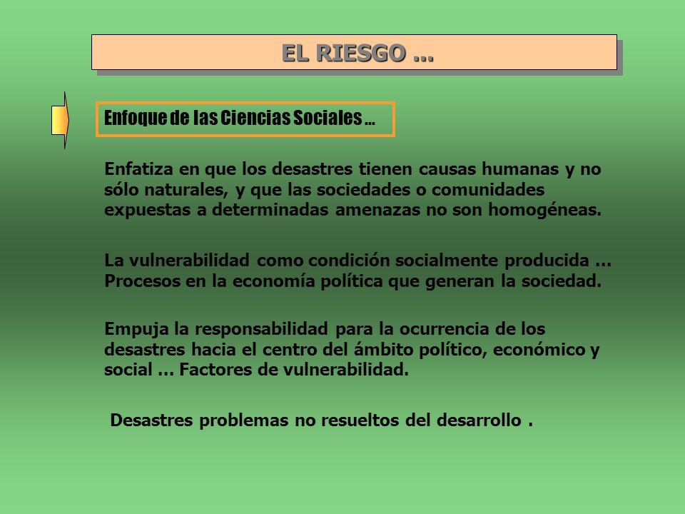 EL RIESGO... EL RIESGO... Enfoque de las Ciencias Sociales... Enfatiza en que los desastres tienen causas humanas y no sólo naturales, y que las socie