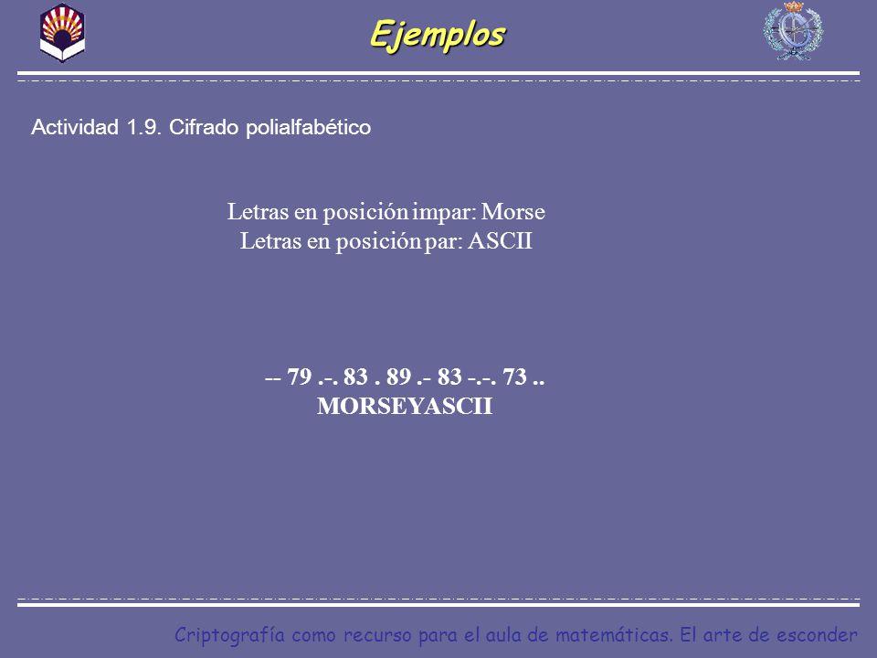 Criptografía como recurso para el aula de matemáticas. El arte de esconderEjemplos Actividad 1.9. Cifrado polialfabético Letras en posición impar: Mor