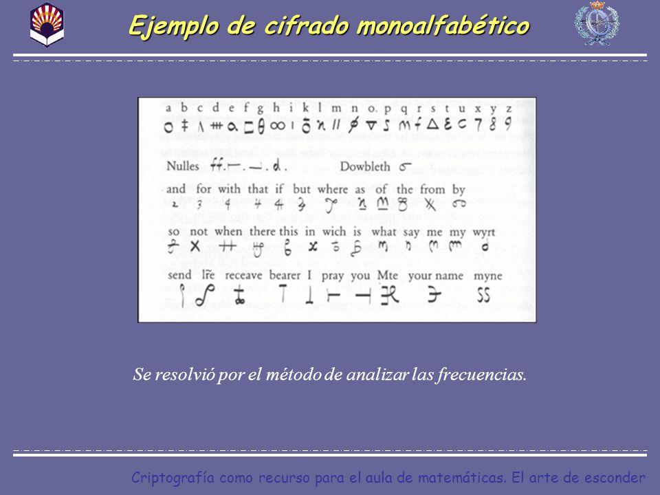 Criptografía como recurso para el aula de matemáticas. El arte de esconder Ejemplo de cifrado monoalfabético Se resolvió por el método de analizar las