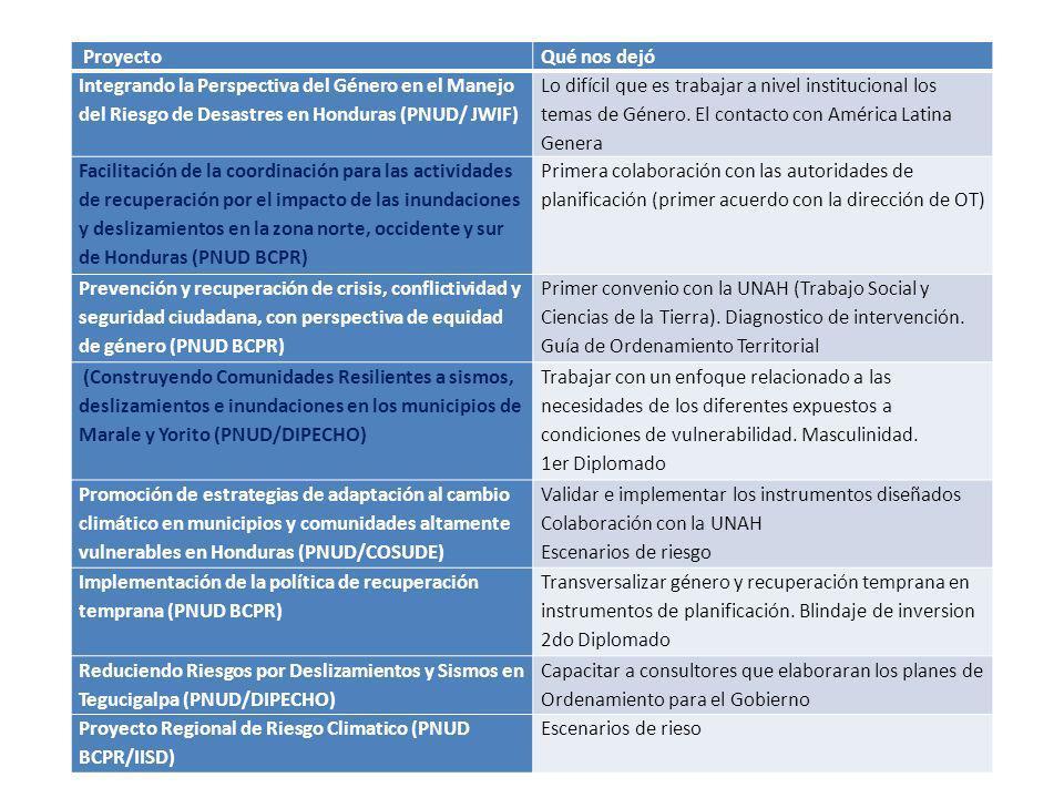 ProyectoQué nos dejó Integrando la Perspectiva del Género en el Manejo del Riesgo de Desastres en Honduras (PNUD/ JWIF) Lo difícil que es trabajar a n