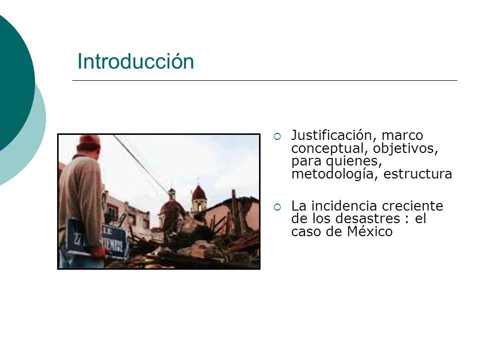 Introducción Justificación, marco conceptual, objetivos, para quienes, metodología, estructura La incidencia creciente de los desastres : el caso de M