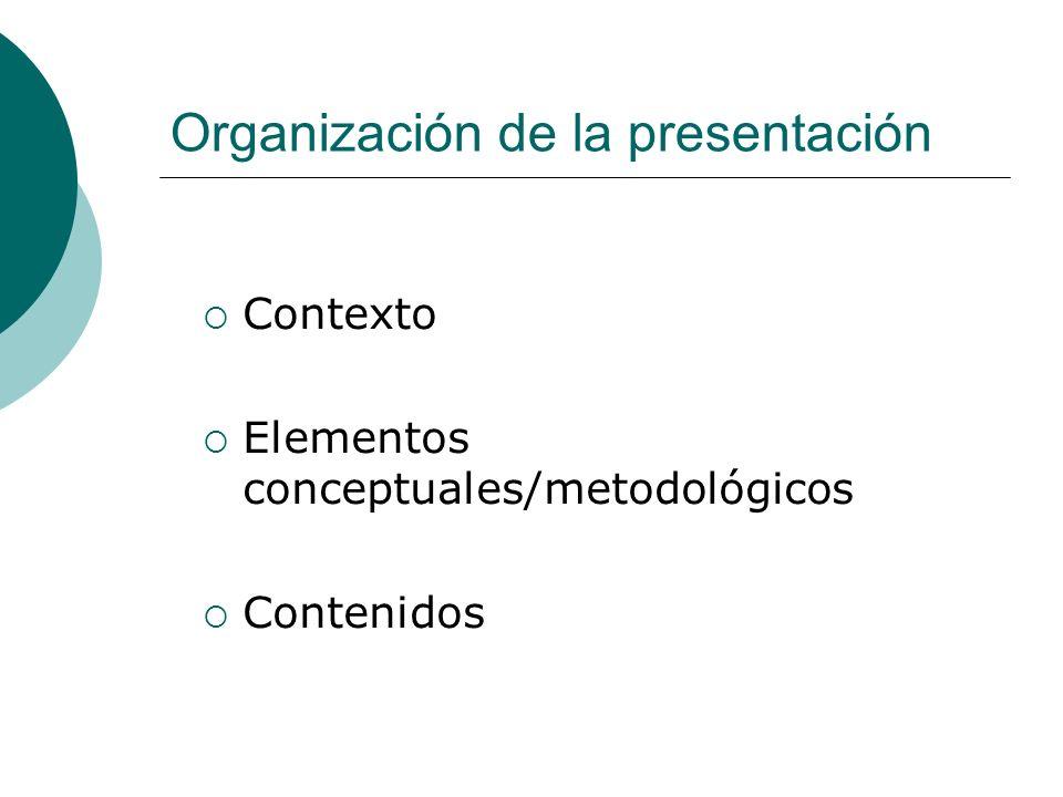 Organización de la presentación Contexto Elementos conceptuales/metodológicos Contenidos