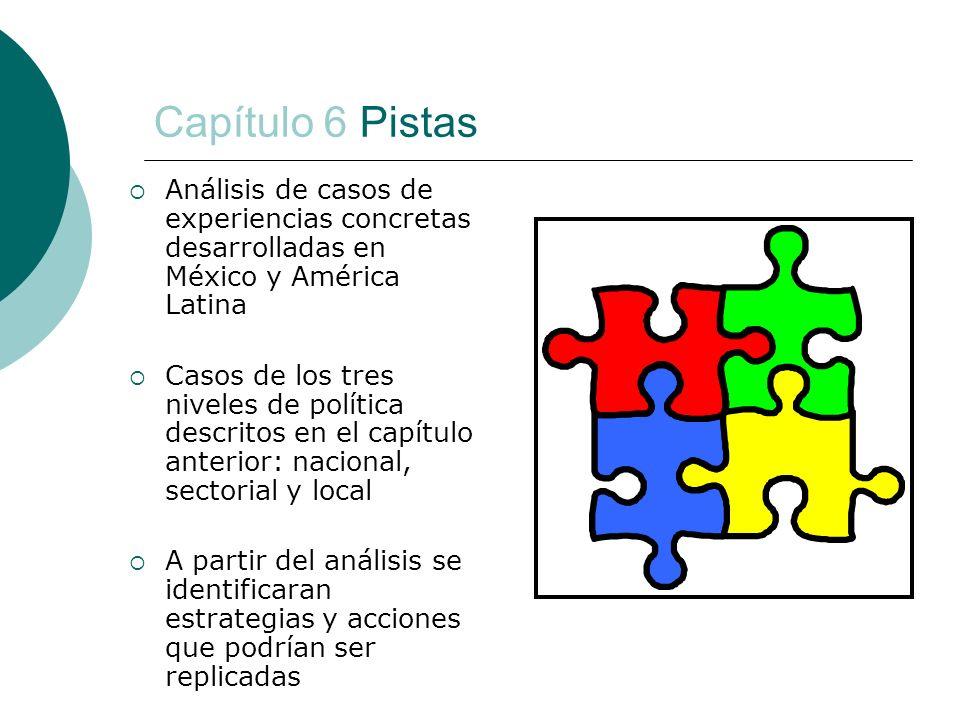 Capítulo 6 Pistas Análisis de casos de experiencias concretas desarrolladas en México y América Latina Casos de los tres niveles de política descritos