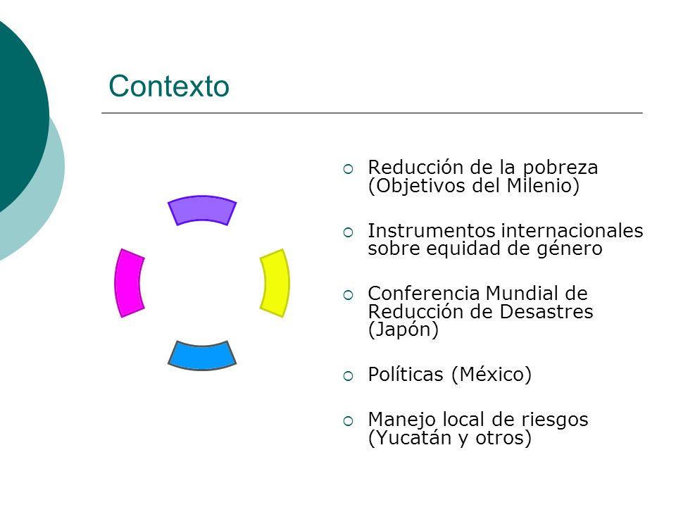 Contexto Reducción de la pobreza (Objetivos del Milenio) Instrumentos internacionales sobre equidad de género Conferencia Mundial de Reducción de Desa