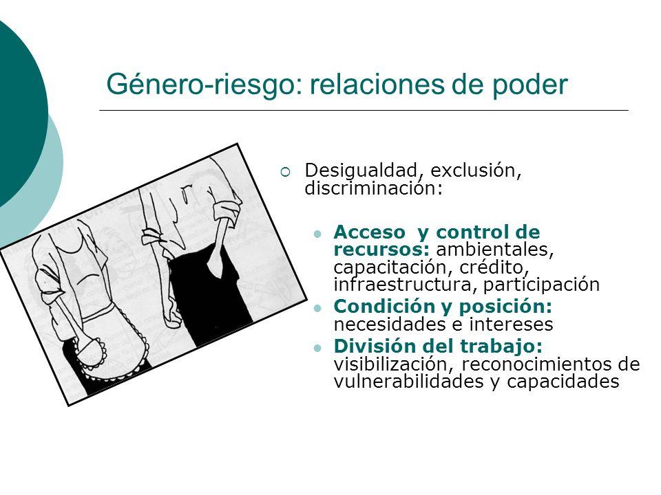 Género-riesgo: relaciones de poder Desigualdad, exclusión, discriminación: Acceso y control de recursos: ambientales, capacitación, crédito, infraestr