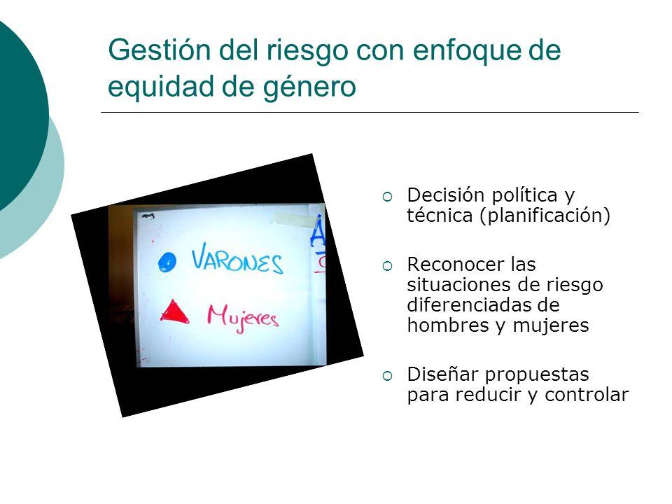 Gestión del riesgo con enfoque de equidad de género Decisión política y técnica (planificación) Reconocer las situaciones de riesgo diferenciadas de h