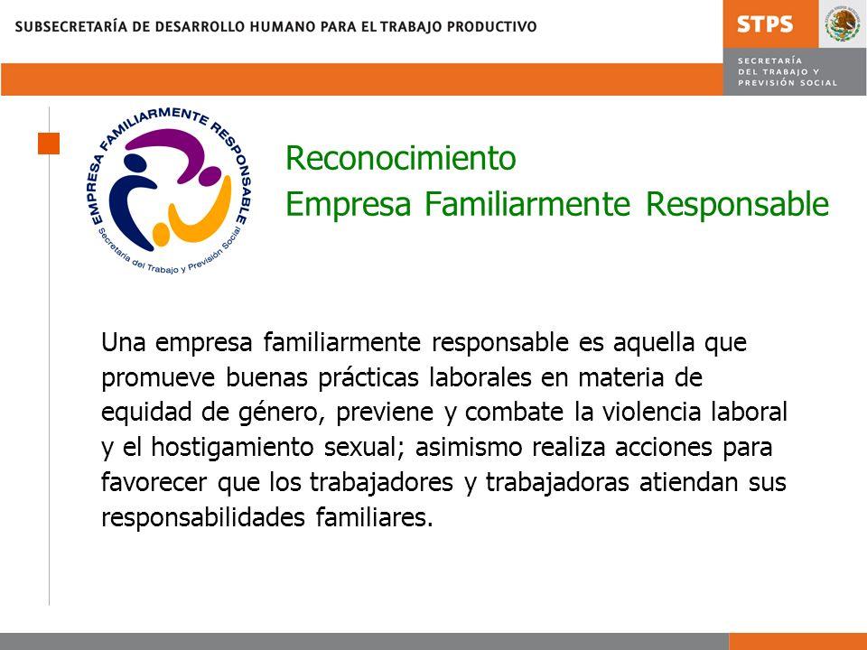 Reconocimiento Empresa Familiarmente Responsable Una empresa familiarmente responsable es aquella que promueve buenas prácticas laborales en materia d