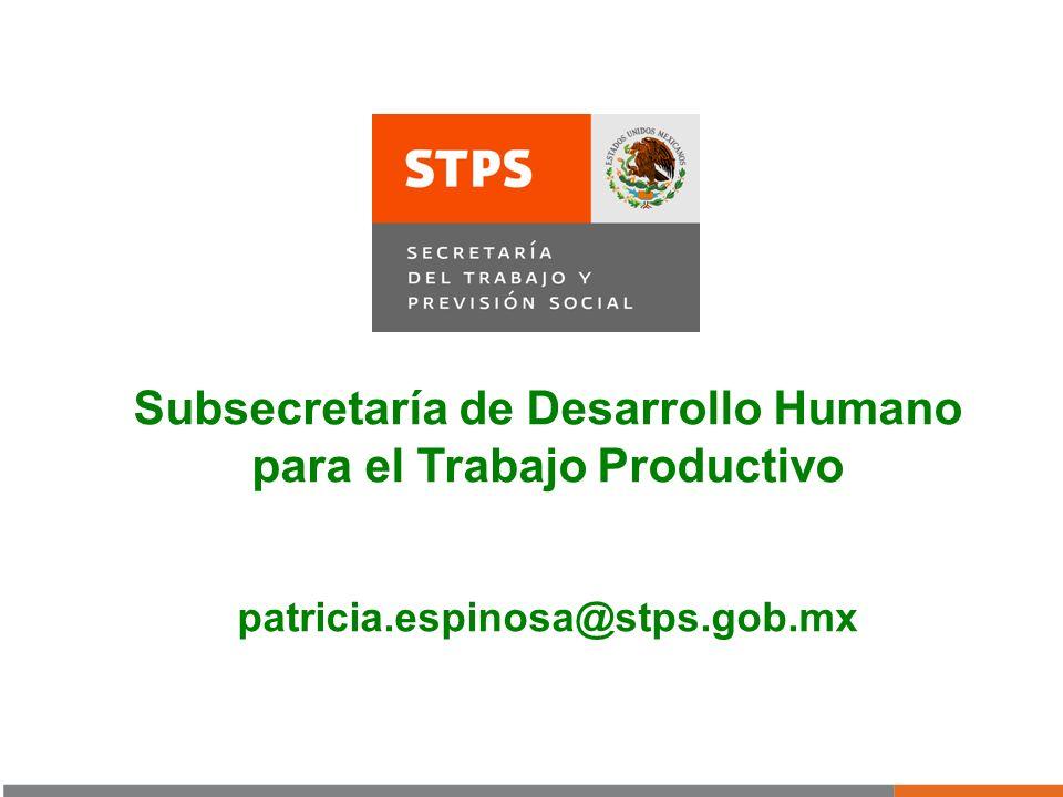 Subsecretaría de Desarrollo Humano para el Trabajo Productivo patricia.espinosa@stps.gob.mx