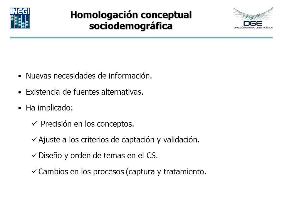 Homologación conceptual sociodemográfica Nuevas necesidades de información.