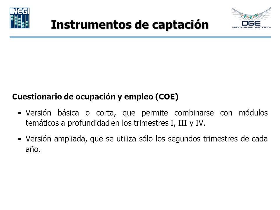 Instrumentos de captación Cuestionario de ocupación y empleo (COE) Versión básica o corta, que permite combinarse con módulos temáticos a profundidad en los trimestres I, III y IV.
