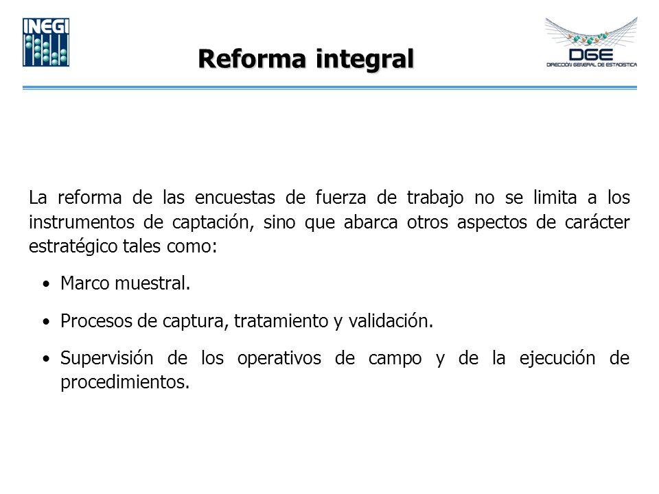 Reforma integral La reforma de las encuestas de fuerza de trabajo no se limita a los instrumentos de captación, sino que abarca otros aspectos de carácter estratégico tales como: Marco muestral.