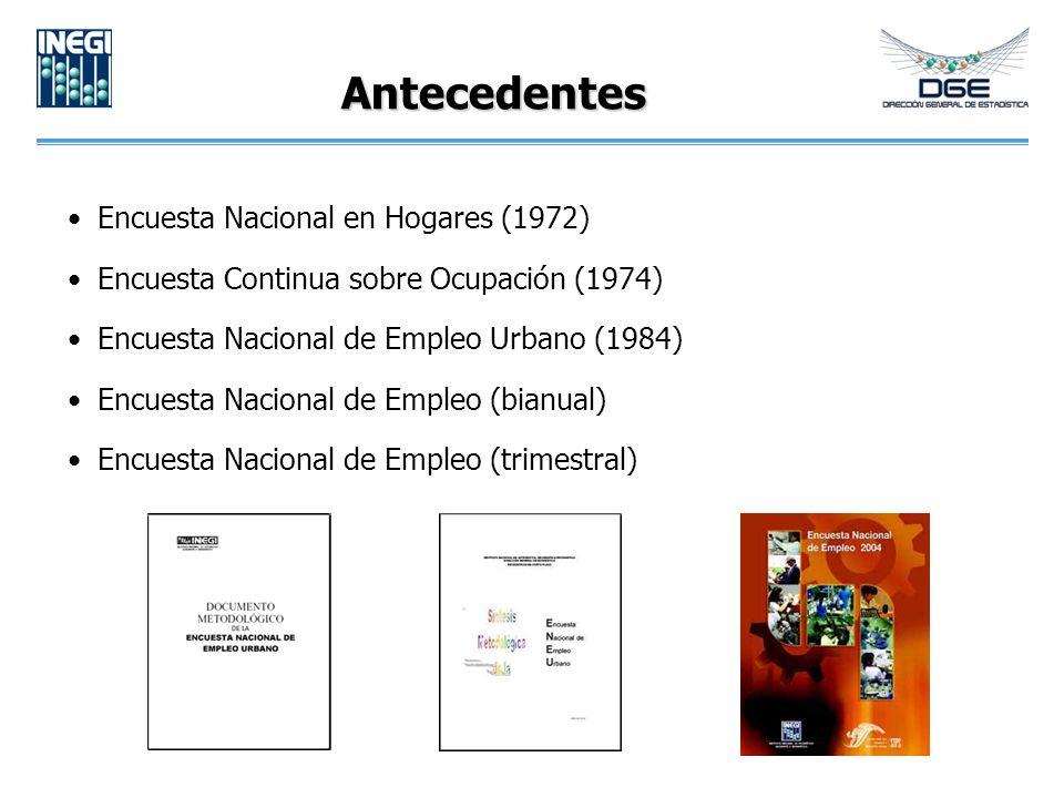 Antecedentes Encuesta Nacional en Hogares (1972) Encuesta Continua sobre Ocupación (1974) Encuesta Nacional de Empleo Urbano (1984) Encuesta Nacional de Empleo (bianual) Encuesta Nacional de Empleo (trimestral)