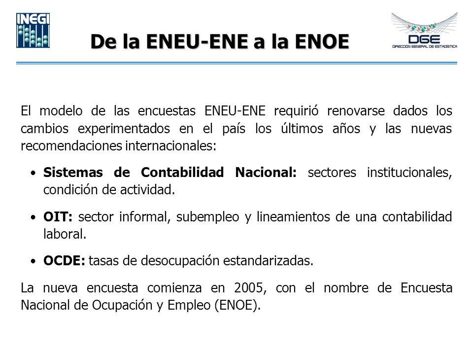 De la ENEU-ENE a la ENOE El modelo de las encuestas ENEU-ENE requirió renovarse dados los cambios experimentados en el país los últimos años y las nuevas recomendaciones internacionales: Sistemas de Contabilidad Nacional: sectores institucionales, condición de actividad.