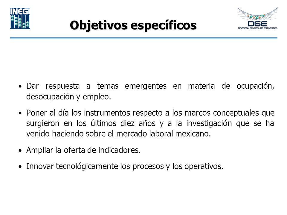Objetivos específicos Dar respuesta a temas emergentes en materia de ocupación, desocupación y empleo.