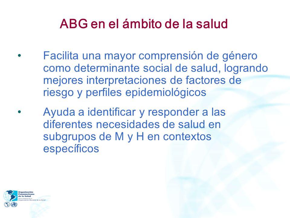 ABG en el ámbito de la salud Facilita una mayor comprensión de género como determinante social de salud, logrando mejores interpretaciones de factores