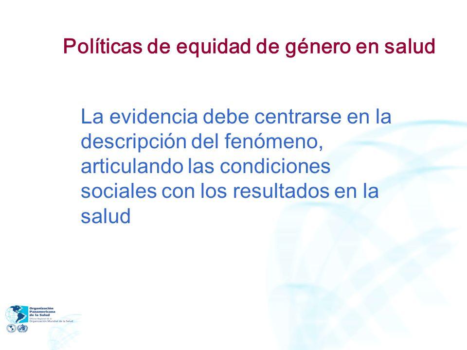 Políticas de equidad de género en salud La evidencia debe centrarse en la descripción del fenómeno, articulando las condiciones sociales con los resul