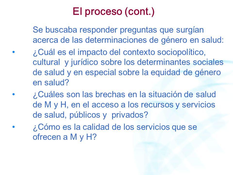 El proceso (cont.) Se buscaba responder preguntas que surgían acerca de las determinaciones de género en salud: ¿Cuál es el impacto del contexto socio