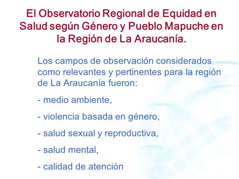 El Observatorio Regional de Equidad en Salud según Género y Pueblo Mapuche en la Región de La Araucanía. Los campos de observación considerados como r
