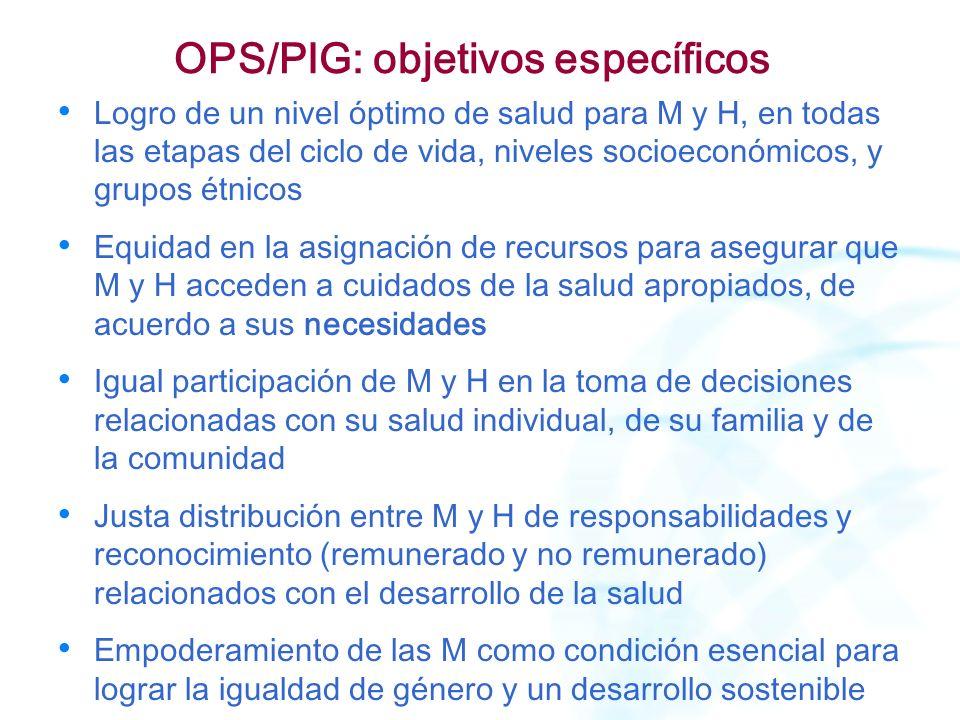 OPS/PIG: objetivos específicos Logro de un nivel óptimo de salud para M y H, en todas las etapas del ciclo de vida, niveles socioeconómicos, y grupos