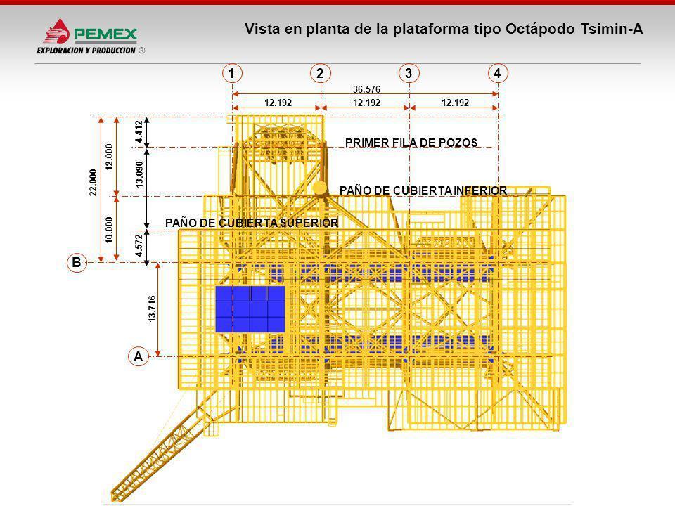 Vista en planta de la plataforma tipo Octápodo Tsimin-A A B 1234 13.716 22.000 12.192 36.576 12.000 10.000 PAÑO DE CUBIERTA SUPERIOR PRIMER FILA DE PO