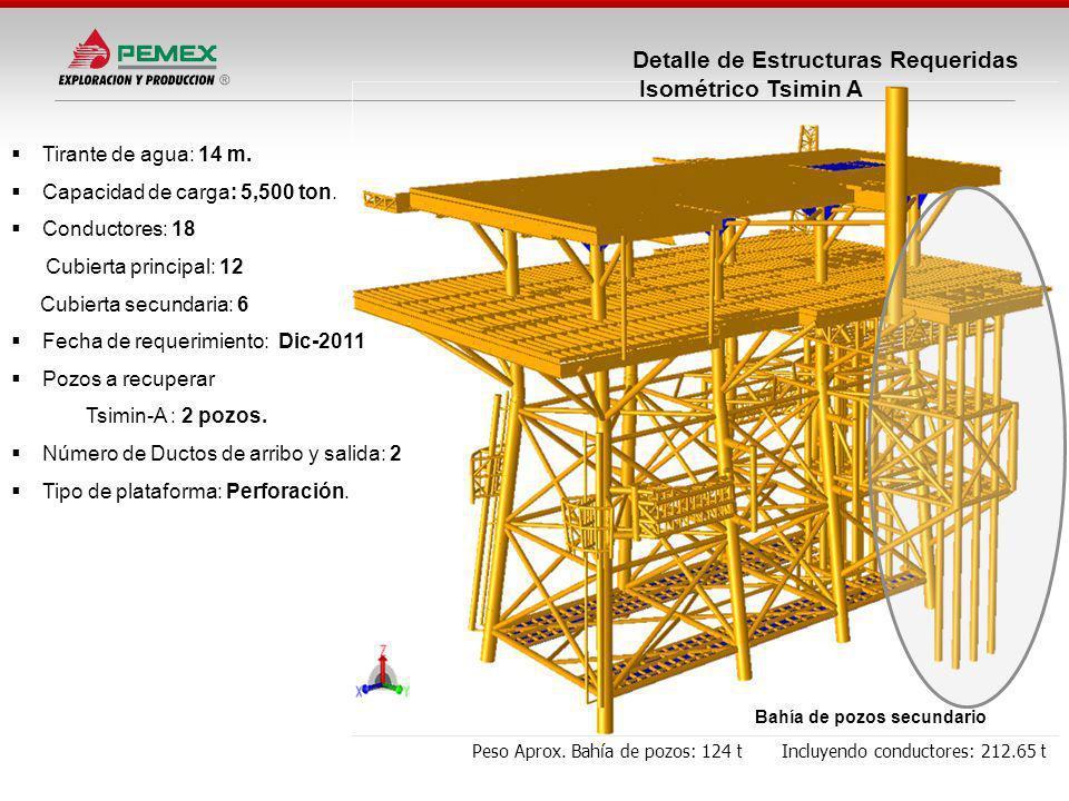 Detalle de Estructuras Requeridas Isométrico Tsimin A Peso Aprox. Bahía de pozos: 124 t Incluyendo conductores: 212.65 t Tirante de agua: 14 m. Capaci