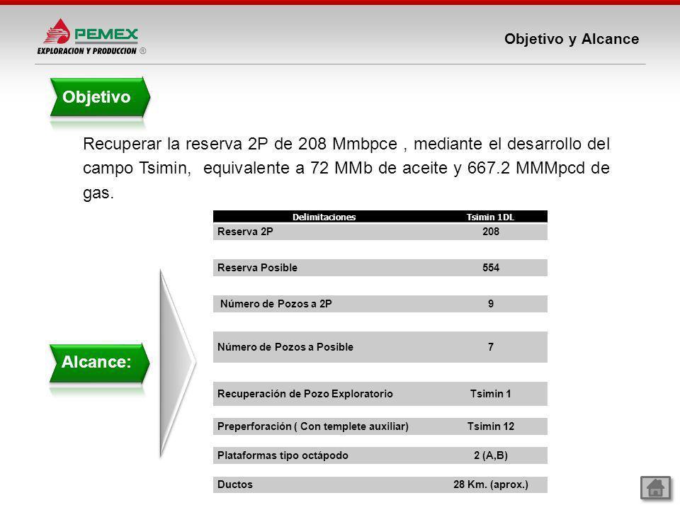 Objetivo y Alcance Objetivo Alcance: Recuperar la reserva 2P de 208 Mmbpce, mediante el desarrollo del campo Tsimin, equivalente a 72 MMb de aceite y