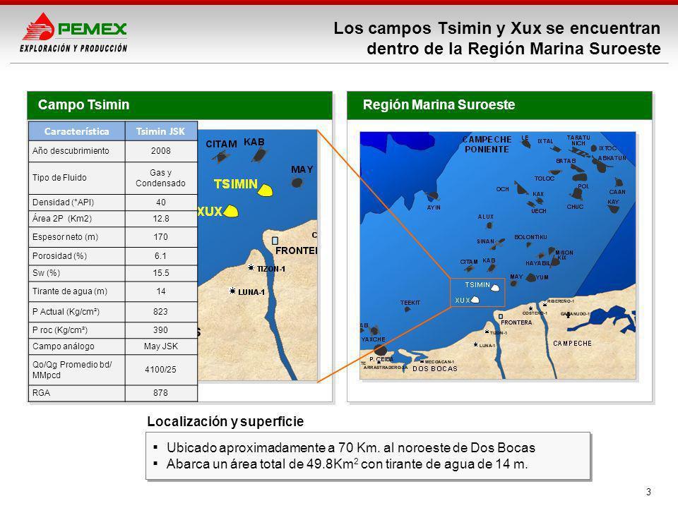 3 Los campos Tsimin y Xux se encuentran dentro de la Región Marina Suroeste Región Marina SuroesteCampo Tsimin Ubicado aproximadamente a 70 Km. al nor
